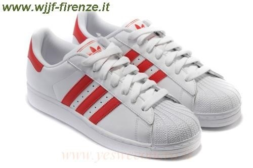 adidas superstar bianche righe rosse